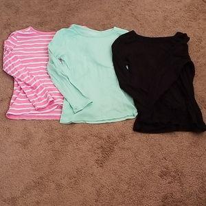 Girls long sleeve shirt set of 3.